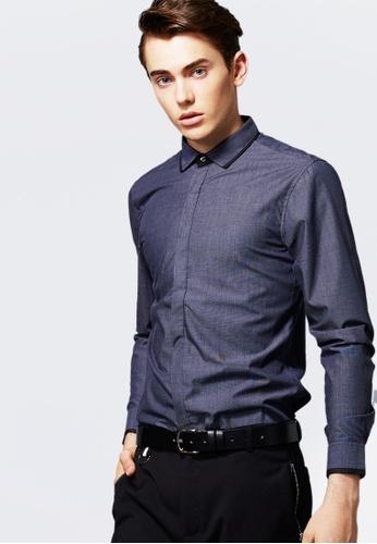 Life8 blue Formal Long-Sleeved Shirts-11121-Blue LI286AA0RM0BMY_1