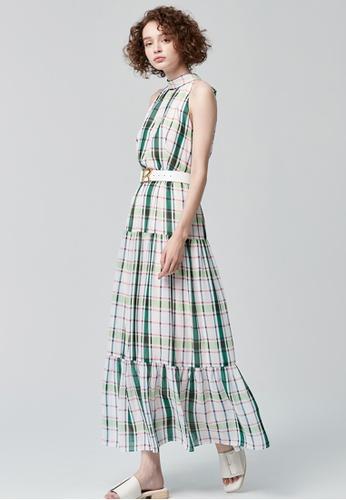 iROO multi Maxi Checks Dress 29FF6AA302412AGS_1