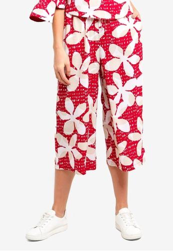 Armani Exchange red Flower Midi Culottes D93E3AAB06DBFFGS_1
