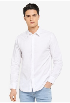 ZALORA white Chain Stitch Detail Long Sleeve Shirt C3CAAAABE8DC51GS_1