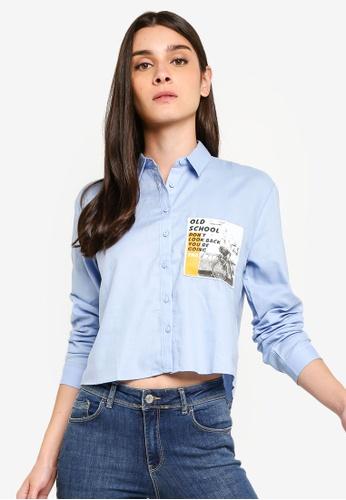 LC Waikiki 藍色 Long-袖 Printed-胸圍 襯衫 50301AA1876FD9GS_1