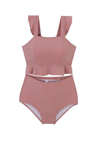 ZITIQUE pink Women's Ruffled High Waist Two-piece Swimsuit - Pink 74FCBUS4D57BB3GS_1