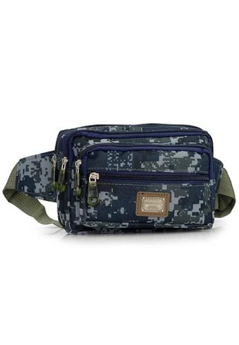 Jackbox blue Multi Compartment Camo Shoulder Waist Pouch Bag 704 (Blue Camo) JA762AC15VEQMY_1
