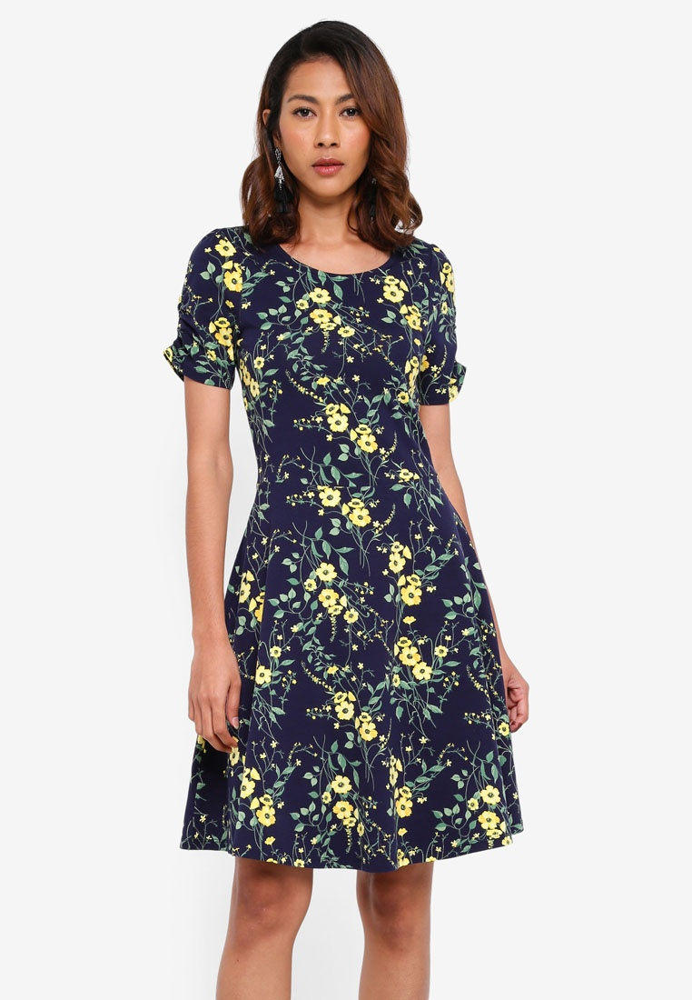 Dorothy Perkins Flare Dress Blue Navy And Fit Navy qwEXnOI