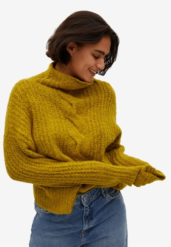 Violeta by MANGO yellow Cable-Knit Sweater 7F37CAAB24DAD2GS_1