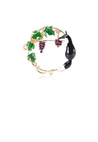 Glamorousky silver Simple and Creative Plated Gold Fox Grape Geometric Round Brooch 6BA07ACB7E0F34GS_1