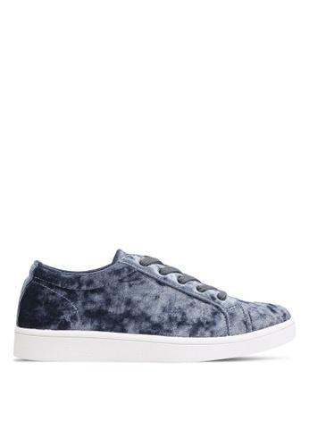 ZALORA 藍色 絲絨 運動鞋 154A3SH645E548GS_1