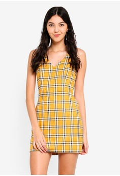 f52a2228f0f8ac Miss Selfridge yellow Petite Yellow Check Pinny Dress 8544CAAF2C658EGS 1