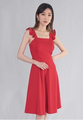 BEBEBEIGE red BEBEBEIGE SQUARE NECKLINE SLEEVELESS FLARE MIDI DINNER DRESS A70E4AAAF77779GS_1