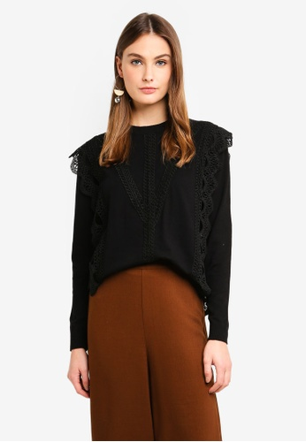 bYSI black Crochet Lace Trim Sweater 9B775AA9B66218GS_1