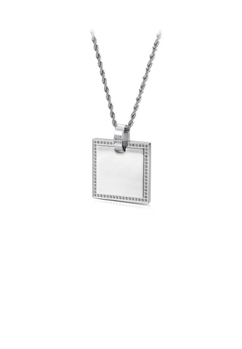 Glamorousky white Simple and Fashion Geometric Square 316L Stainless Steel Pendant with Cubic Zirconia and Necklace 71390AC386F90CGS_1