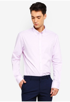 3803788dff T.M. LEWIN pink T.M.Lewin Stretch Casual Fitted Pink Plain Button Down  Collar Shirt FE81DAA994E304GS 1