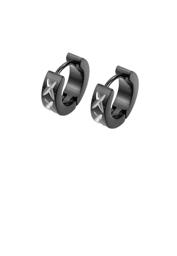 Glamorousky silver Simple Personality Plated Black Pattern Geometric Round 316L Stainless Steel Stud Earrings E3D06ACAD22A3CGS_1