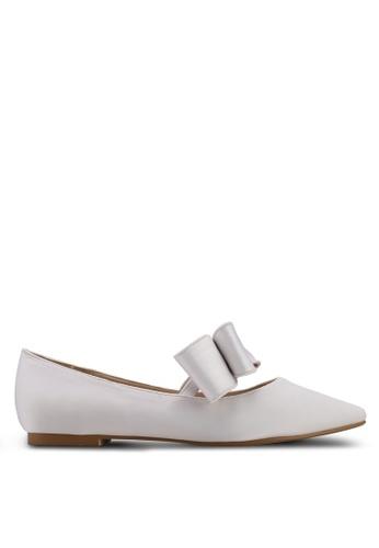 Velvet white Satin Ballerina Bow Flats 10983SHE0E09DFGS_1