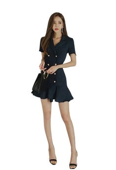 Sunnydaysweety blue 2018 New Deep Blue Ruffle One Piece Dress CA071813  3B8F7AAC41B760GS 1 874dfe4d5