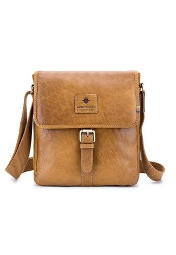 ENZODESIGN brown ENZODESIGN Vintage Buffalo Leather A5 Size Mini Shoulder Bag ( I-Pad Size) 08043ACB71B0BAGS_1