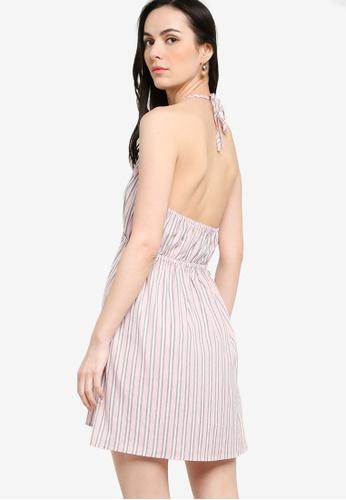 ZALORA pink and multi Bare Back Halter Neck Dress 87076AAAA863DEGS_1