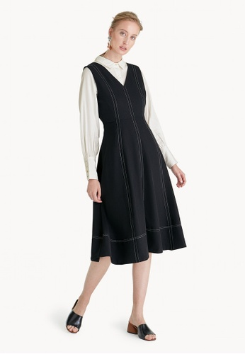 Pomelo black Premium Polyester Midi Fit And Flare Dress - Black 53C9EAAA05DFFDGS_1