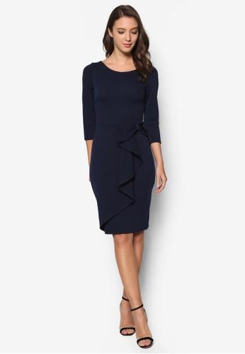 荷葉飾七分袖連身裙, 服飾,esprit 台灣 洋裝