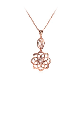 Glamorousky silver Elegant Romantic Fashion Rose Gold Plated Rose Flower Pendant Necklace B75FCAC666FE02GS_1