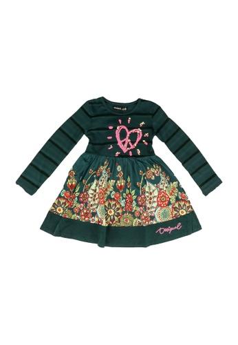 Desigual green Long Sleeve Dress E9CA3KAE4C3226GS_1