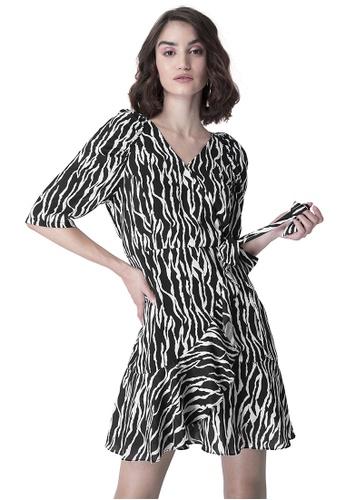 FabAlley black Black Zebra Ruffled Wrap Dress 819F3AAB2F5B0BGS_1