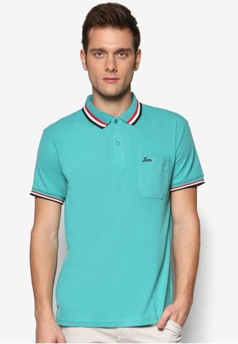 撞色esprit旗艦店條紋領短袖POLO 衫, 服飾, Polo衫