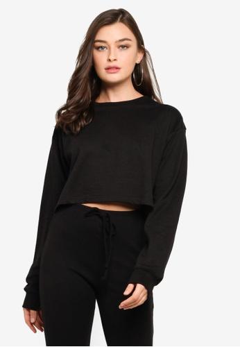 MISSGUIDED black Cropped Sweatshirt E69EAAACD650F8GS_1