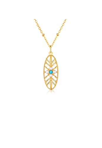 SUNSET gold Premium 925 Sliver Pearl Necklace 12F38AC956272DGS_1