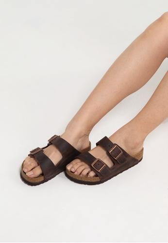 Birkenstock 褐色 Arizona Oiled Leather Sandals BI090SH92JPNMY_1