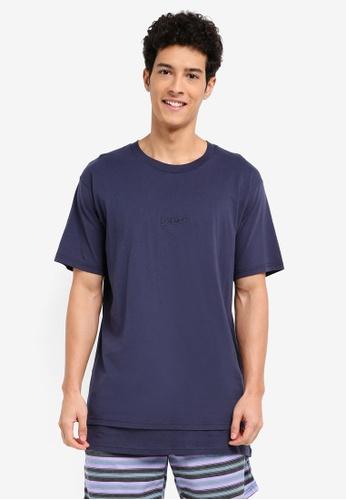 Cotton On 海軍藍色 素色刺繡層次T恤 26DE7AAA1FE307GS_1