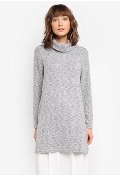 【ZALORA】 高領長版針織毛衣