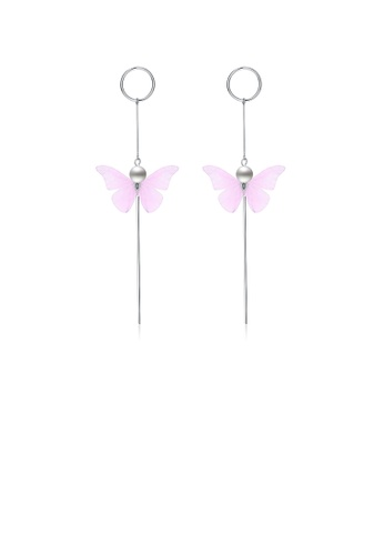 Glamorousky silver 925 Sterling Silver Elegant Sweet and Romantic Pink Lace Butterfly Long Tassel Earrings 14B9CAC6CA6F59GS_1