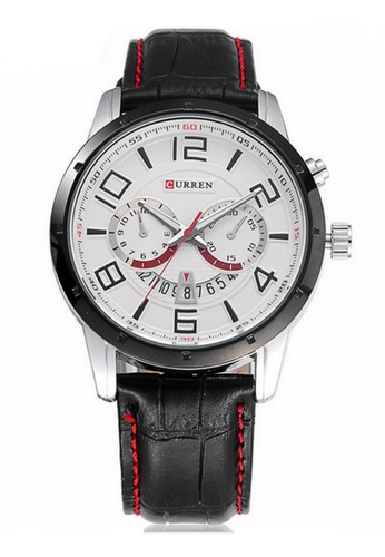 curren black and white Curren 8140 Men's Japan Quartz Leather Wristwatch (Black White) CU537AC16RQPMY_1