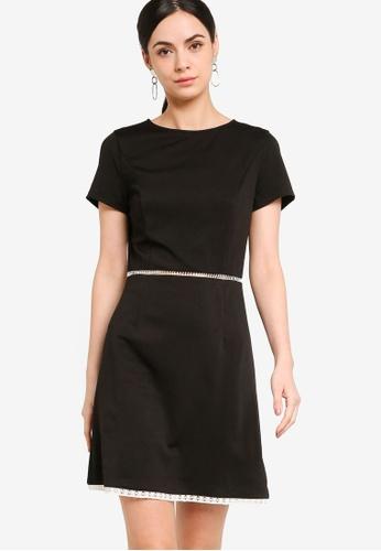 ZALORA WORK black Contrast Crochet Short Sleeves Dress 11D58AA04C387DGS_1