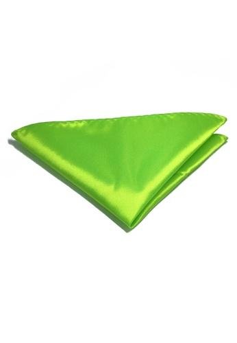 Splice Cufflinks Lustrous Series Lime Green Polyester Pocket Square SP744AC74KTTSG_1
