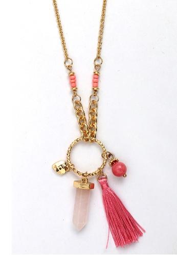 Kimberley pink Kimberley Faux Stone Tassel Necklace in Rose KI026AC48VLZPH_1