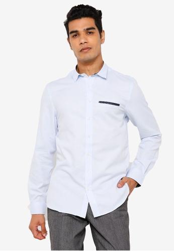 KOTON blue Classic Long Sleeves Shirt 54559AAC574E44GS_1