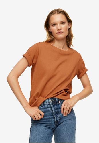 Mango brown Essential Cotton-Blend T-Shirt 53E15AAB92205EGS_1