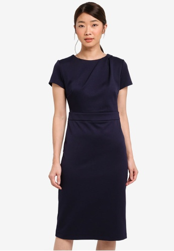 Dorothy Perkins navy Navy Pleat Neck Pencil Dress 71061AA37A307DGS_1