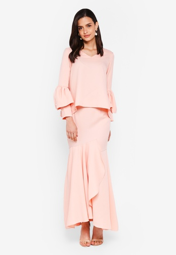 Lubna pink Double Sleeves Overlap Skirt F4063AAE9592E0GS_1
