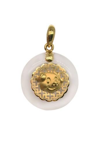 LITZ white and gold LITZ 999 (24K) Gold and Jade Pig Zodiac Pendant FD33DAC3AB2B0EGS_1