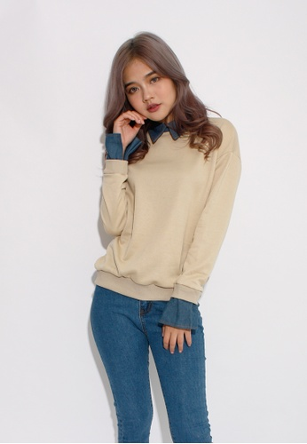 Seoul in Love beige Lee-iu Blouse top Two in one piece in Beige SE496AA0GX2LSG_1