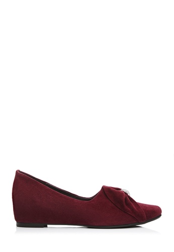 BONIA red Women Maroon Ribbon Bow Wedge Pumps 4D787SH66098FEGS_1