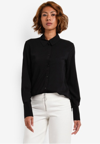 Vero Moda black Erika Long Sleeve Shirt VE975AA0S3ZXMY_1
