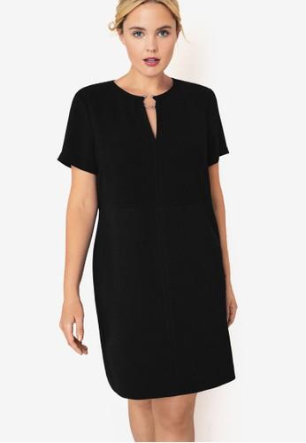 Violeta by MANGO black Plus Size Hoop Detail Dress 511D3AA843A6A2GS_1
