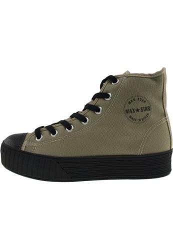 Maxstar 綠色 新款韩国鞋C30-7H-Solid時尚帆布布混合女綠色 US Women Size MA345SH85HFITW_1