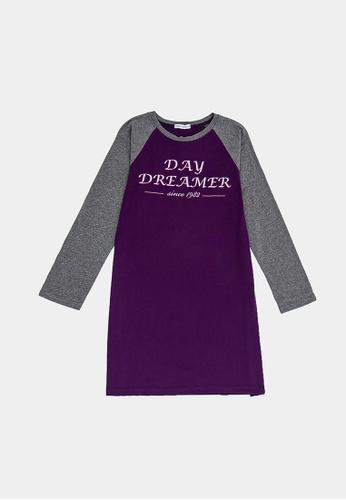 FOREST purple Forest Ladies 100% Cotton Long Sleeve Round Neck Dress - 821866 - 70DkPurple 02E17AA9711541GS_1