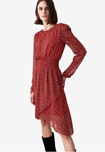 Trendyol red Shirred Waist Print Chiffon Dress E87CFAA57EDF84GS_1