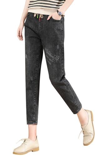 A-IN GIRLS black Elastic Waist Grab Grain Jeans 6D31DAA1CEEC50GS_1